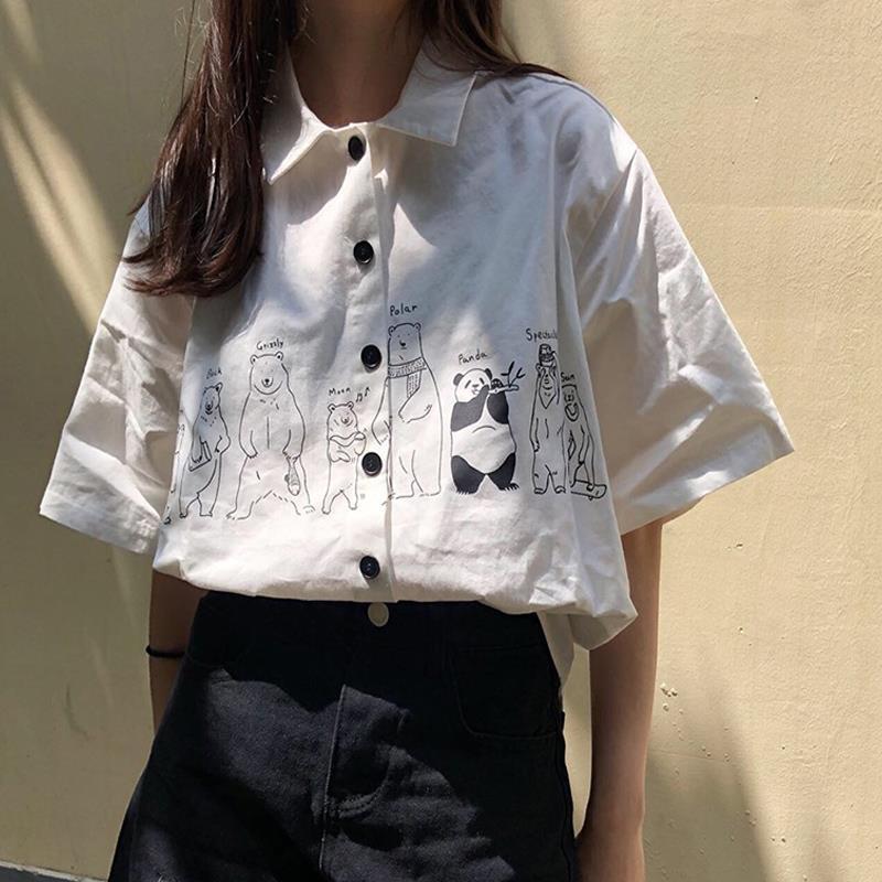 HOUZHOU аниме Kawaii рубашка с короткими рукавами летние Harajuku 90s эстетическое негабаритных белая блузка корейская мода кардиган на пуговицах