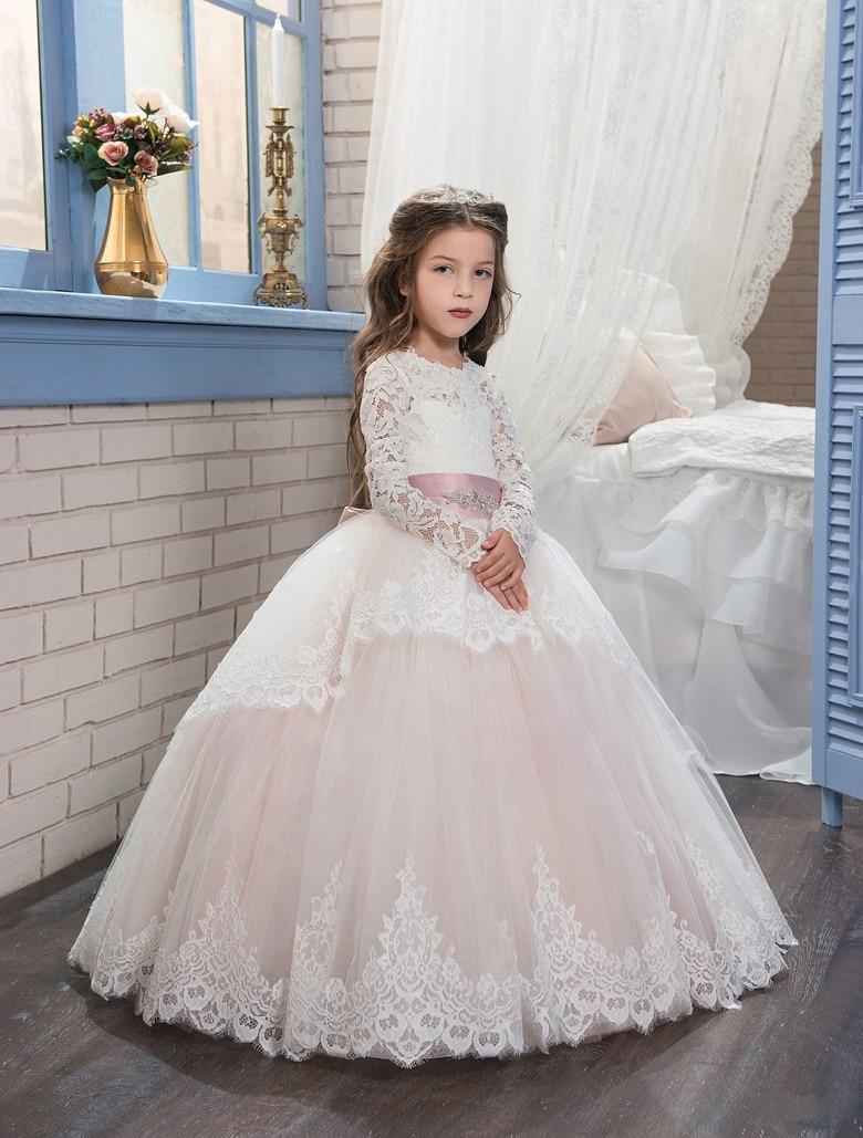 Long Sleeves 2019   Flower     Girl     Dresses   For Weddings Ball Gown Tulle Lace Beaded Bow Long First Communion   Dresses   Little   Girl