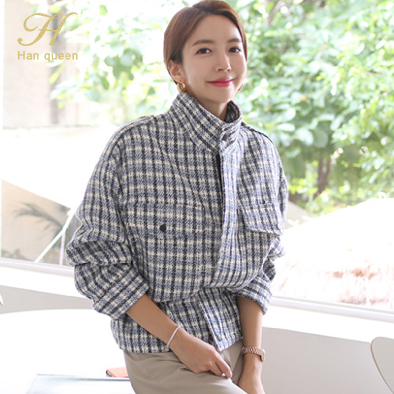 H Han Queen 2019 Autumn Winter Korean Elegant vintage   Trench   Women Casual Coats Short Female Hairy Tops Fashion Plaid Trenchs