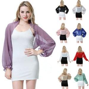 Fashion Women Chiffon Driving UV Protection Arm Sleeve Shrug Cover Shawl Wrap Top Scarf Cape Summer Beach Sports Cuff Shoulder
