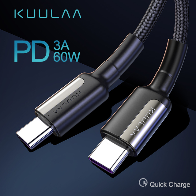KUULAA USB Type C to USB C Cable for Samsung S9 Oneplus 7 Pro Quick Charge 4.0 USBC PD Fast Charging Charger USB-C Type-C Cable