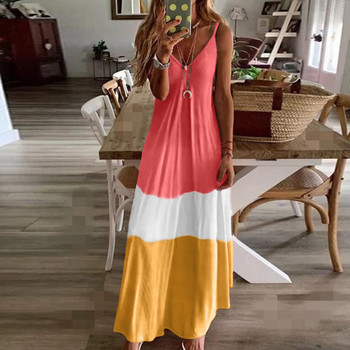 Seksowna pończoch szwy maxi sukienka artystyczna sukienka damska Tie-Dye Maxi letnia sukienka w stylu Boho damska luźna długa sukienka na ramiączkach sukienka tenisowa tanie i dobre opinie Poliester Kolan Krótki WOMEN Tennis Dresses W paski Pasuje prawda na wymiar weź swój normalny rozmiar Cover-Ups