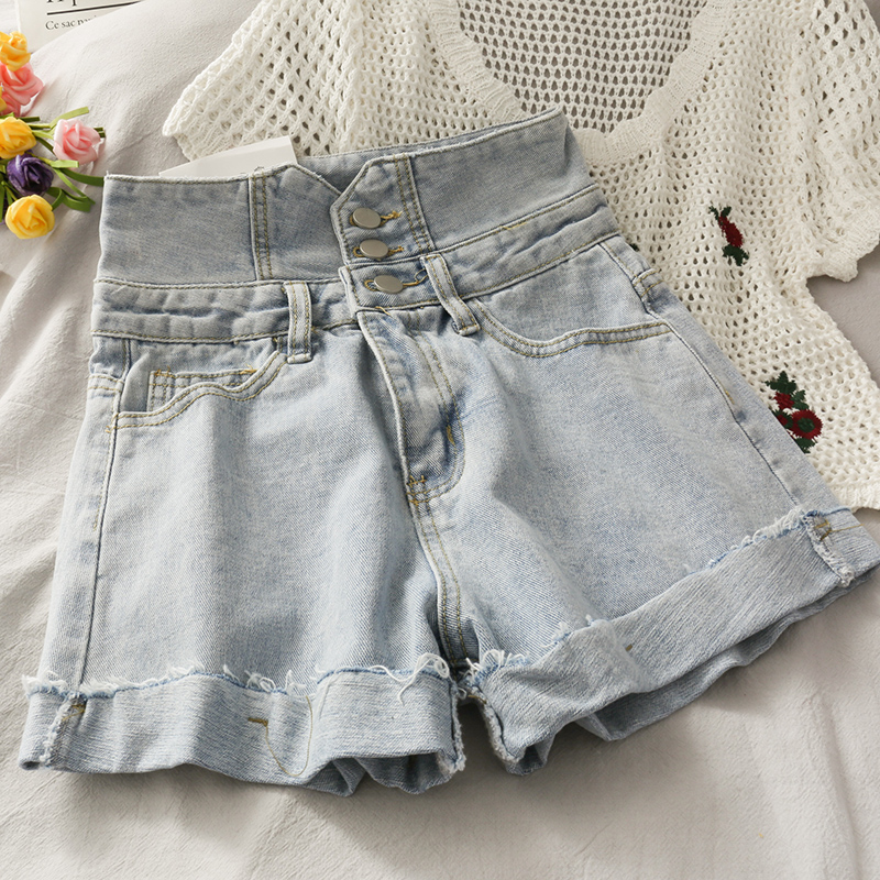 2020 New Korean Version Light Blue High-waist Breasted Denim Shorts Women Summer Wild A-line Shorts Women's Short