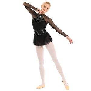 Image 2 - TiaoBug Adult Shiny Rhinestones Long Sleeve Mesh Splice Ballet Gymnastics Leotard Women Figure Ice Skating Dress Dance Costume