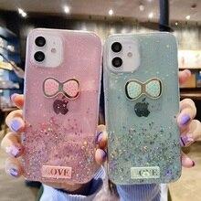 Glitter Case For Oppo A52 A72 A9 A5 2020 A8 A31 A3s A5S A71 A73 A79 F7 F9 K1 K3 K5 A1K A91 A15 Realme C2 Silicon Butterfly Cover
