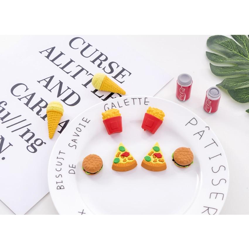 5pcs/lot Creative Burger Cola Fast Food  Eraser Set Rubber Pencil Erasers School Prizes Kid Gifts