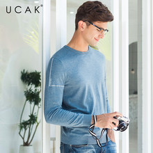 UCAK Brand Sweater Men Casual O-Neck Pull Homme Knitwear Pullover Men Clothes Autumn Winter Cotton Sweaters Jersey Hombre U1002