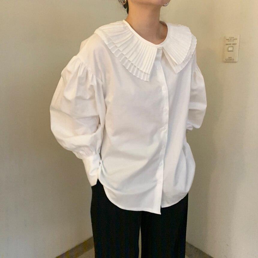 Ha683c858ccd8436a82d69c0108f0a60fy - Spring / Autumn Korean Pilgrim Collar Long Sleeves White Blouse