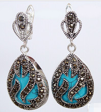 "825 +++11/2"" fashionable jewelry 925 Silver & Marcasite inlay blue turquoise Waterdrop Earrings(China)"