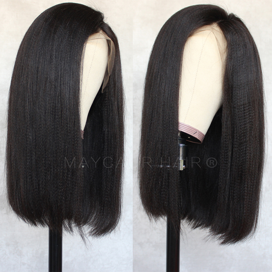 Maycaur Black Yaki Wig Short Bob Synthetic Lace Front Wigs With Natural Hairline Heat Resistant Straight Lace Wigs