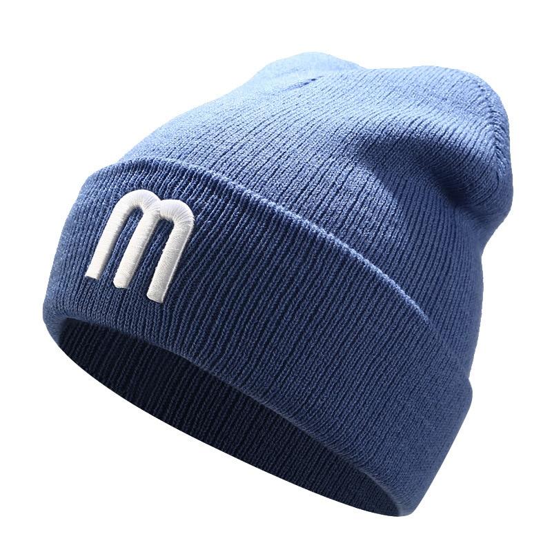 Women's Autumn Winter Beanie Hat Knitted Warm Hat Cap Embroidery Letter M Cotton Winter Hat Girls Beanie Hats Female 2019