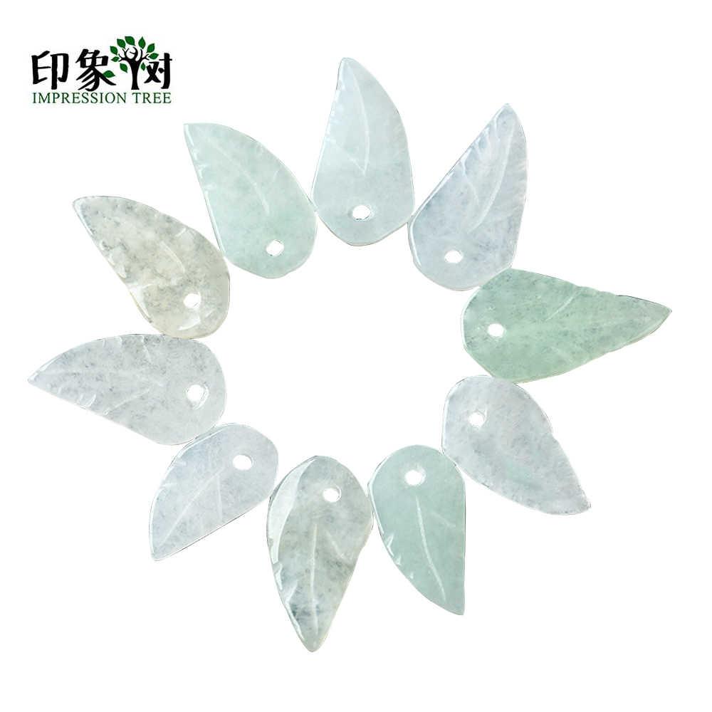 1 stücke Natural Green Leaf Form Stein Perlen Für DIY Schmuck Machen Armband Halskette Flügel Form JadeEme/rald Für DIY 18119