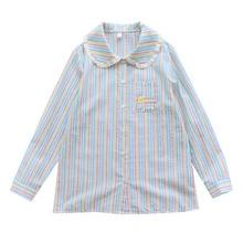 Осень Весна дизайн радужной полосой вышивка оборки милая женская блузка с длинным рукавом Хлопок Свободная рубашка Топы