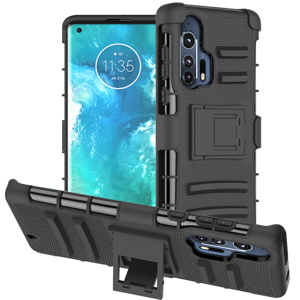 Belt Clip Case For Motorola Edge+ Case For Edge Plus Case Holster With Kickstand Swivel Shockproof Bumper Protective Cover