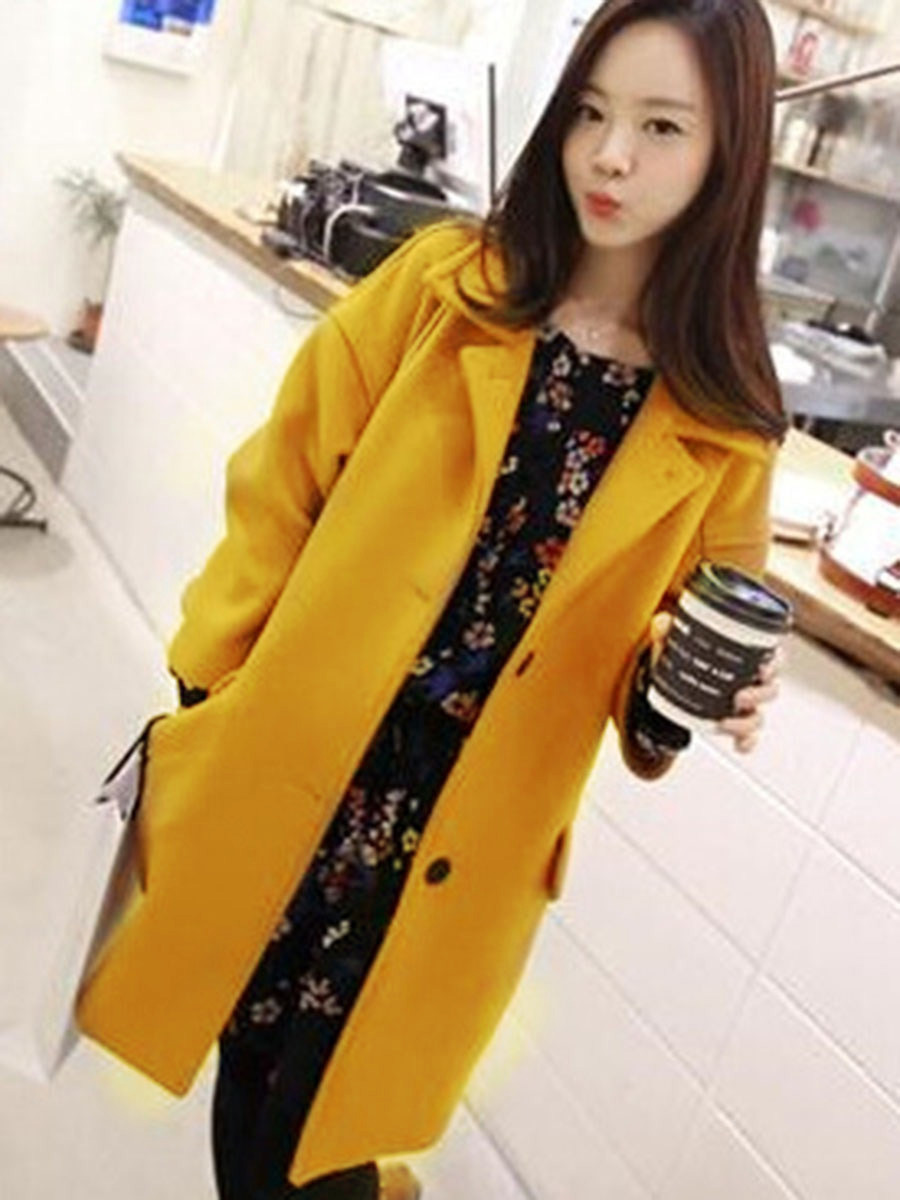 Japan Korea Overcoat Women Spring Woolen Coat Minimalism Button Pocket Office Lady Workwear Young Girl Fashion 2020 Outwear Women Women's Clothings cb5feb1b7314637725a2e7: Blue|YELLOW