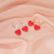 Simple Red Heart Earrings for Women Enamel Fashion Gold Color Alloy Heart Shape Drop Dangle Earrings Wedding Jewelry Wholesale mythic age gold color ethnic chinese element cloisonne enamel leaves dangle earrings wholesale jewelry for women girls new
