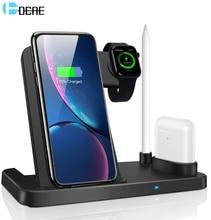 Dcae 3 em 1 qi 10 w carregador sem fio suporte para iphone 11 pro x xr xs 8 estação doca de carregamento rápido para apple watch 5 4 3 2 airpods
