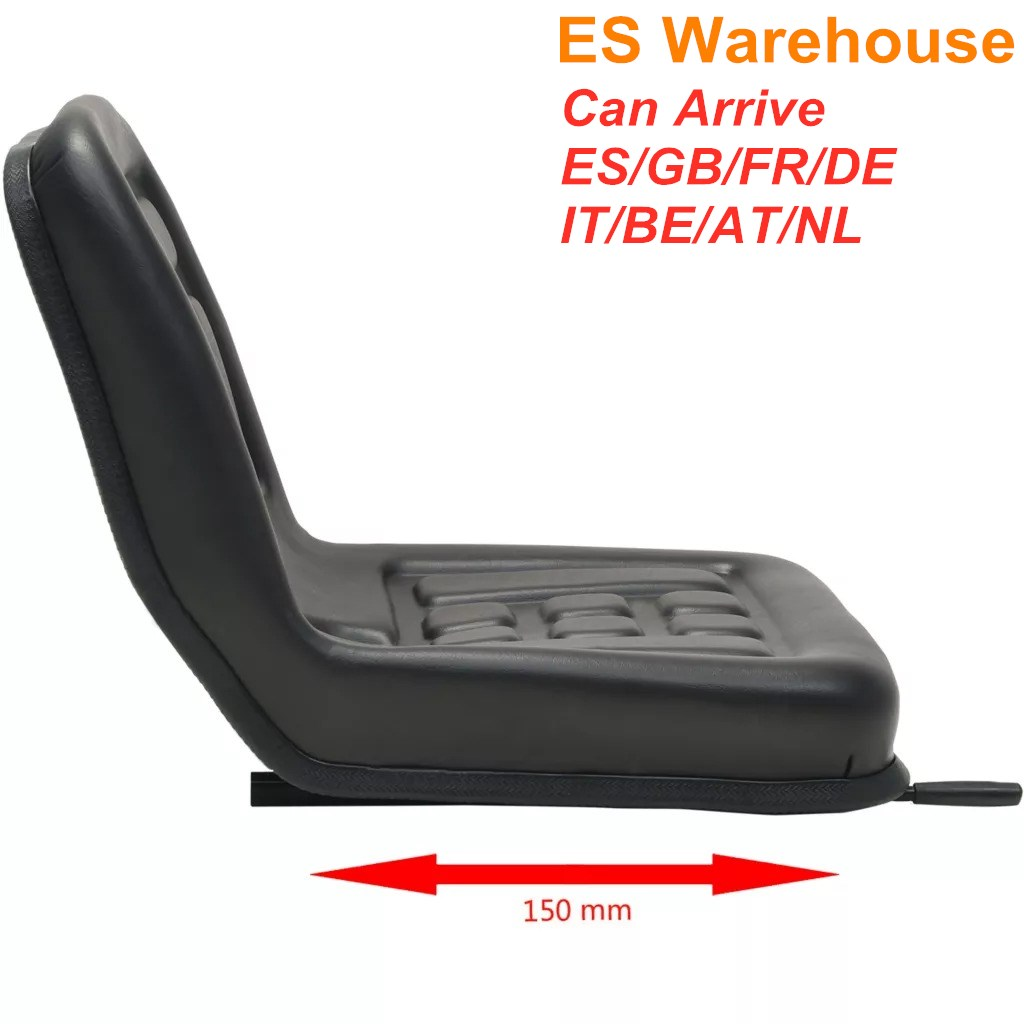 ES Warehouse Universal Black Tractor Seat With Sliding Tracks Easy Installation