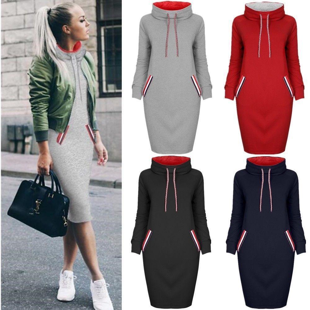 Women Hoodie Dress 2020 Winter Spring Women's Pullover Fashion Ladies Sweatshirts Female Long Hoodies Women Pull Hoody