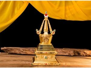 "770g 6.7"" OR 17CM gold Blessing Buddhist shrine Religion metal Tibet Tibetan Tantric Buddhism alloy Bodhi tower stupa(China)"