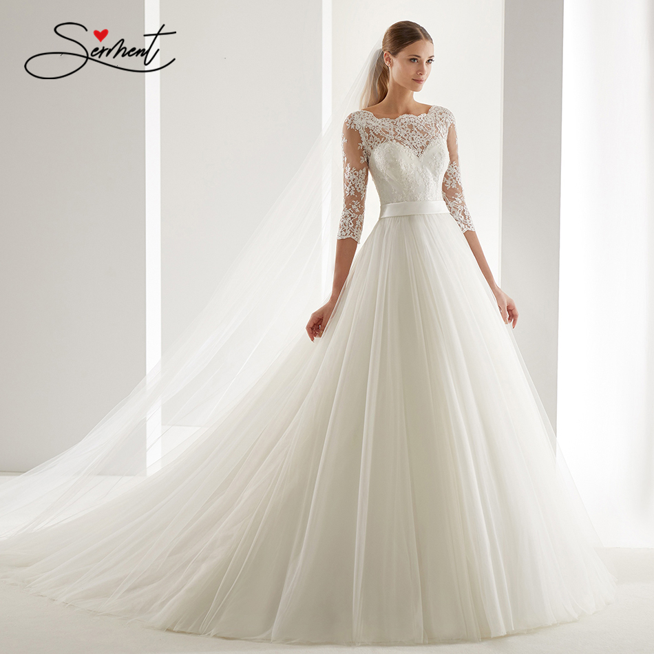 Image 2 - OllyMurs 2020 Luxury Wedding Dress Long Sleeve Turtleneck Applique Lace Wedding Noble Applique Muslim Brides Support Tailor madeWedding Dresses   -
