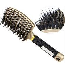 Brosse à cheveux cuir chevelu Massage peigne brosse à cheveux soies et Nylon femmes humide bouclés démêler brosse à cheveux pour Salon de coiffure outils de coiffure
