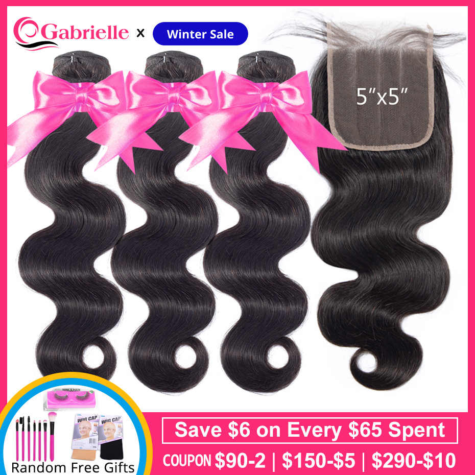 Gabrielle Hair Brazilian Body Wave 3 Bundles with Closure Natural Color 100% Remy Human Hair Extensions 5x5 Closure with Bundles