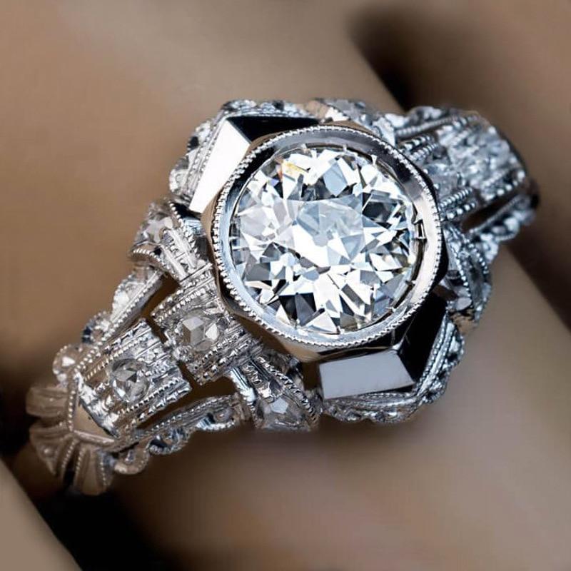 European Retro Palace Ring Female White Zircon Stone Rings Exquisite Crystal Wedding Engagement Fashion Ring