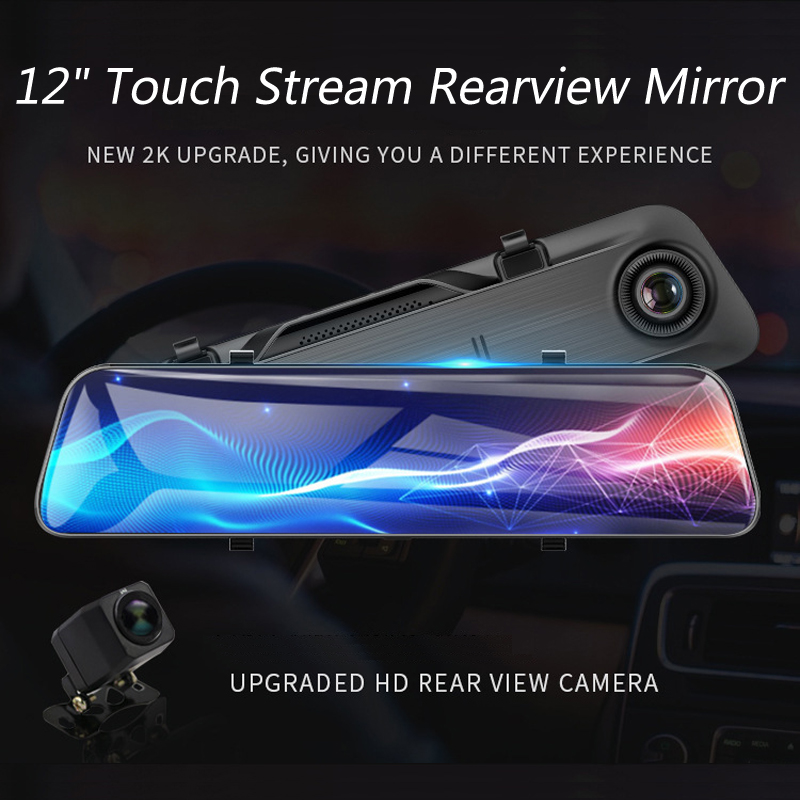 New 12 Touch Screen 2K Full HD Car DVR Dash Camera Dual Lens Video Stream Media Recorder Rearview Mirror 1080P Back Camera - 2