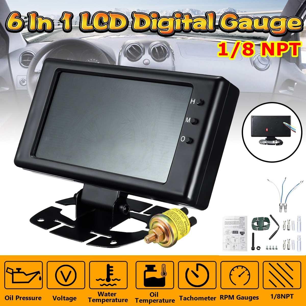 8-18V voiture 6 en 1 LCD jauge numérique pression d'huile tension température de l'eau température de l'huile tachymètre RPM Auto jauges