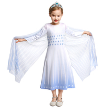 Elsa 2 White Princess Dress Snow Queen Cosplay Costume Christmas Halloween Girl Long Dress with Clock Birthday Gift Party Clothi girl princess dress rapunzel dress up baby snow white belle cinderella cosplay costume for party birthday halloween
