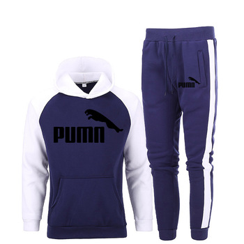 New 2020 Brand Printing Tracksuit Fashion Men Sportswear Two Piece Sets Polyester Cotton Thick Hoodie+Pants Sporting Suit Male men tracksuit cotton gyms suit sportswear two piece outfits fleece thick hoodie trousers jackets