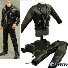 В наличии 1/6 весы zytoys мужской черный кожаный комплект одежды
