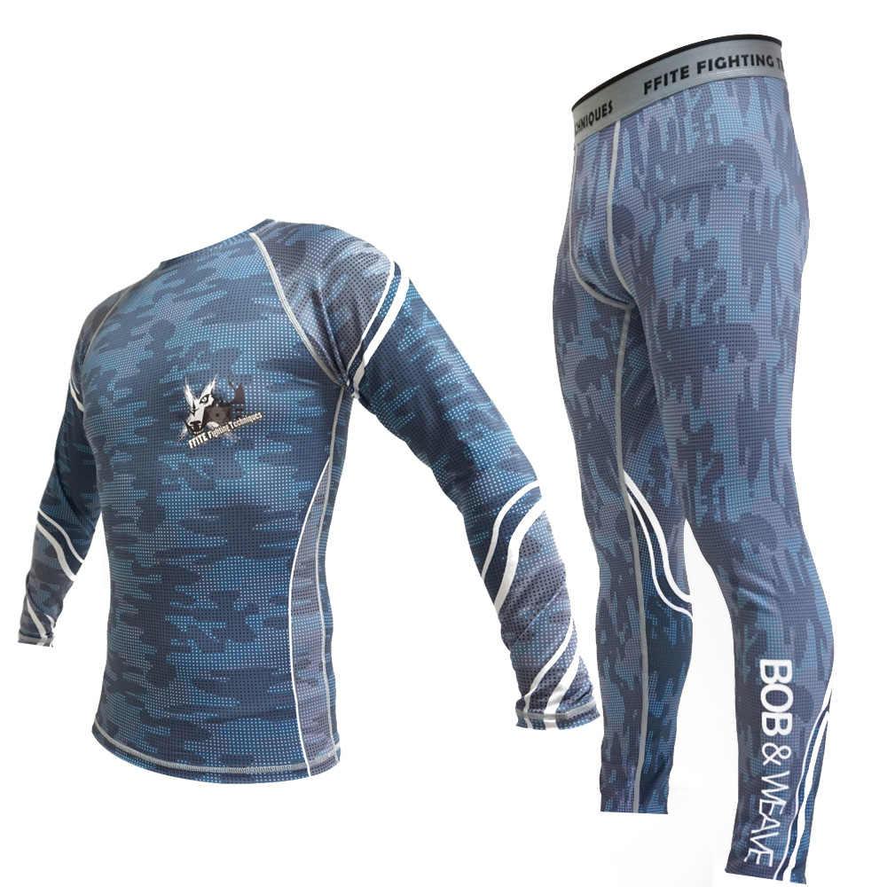 Kickboxing conjunto de compressão calças jérsei bjj rashguard mma para homens calças apertadas muay thai