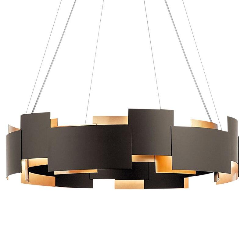 Lustre post-moderne simple en métal noir de styliste, lampes de personnalité artistique, salon, salle à manger, chambre à coucher