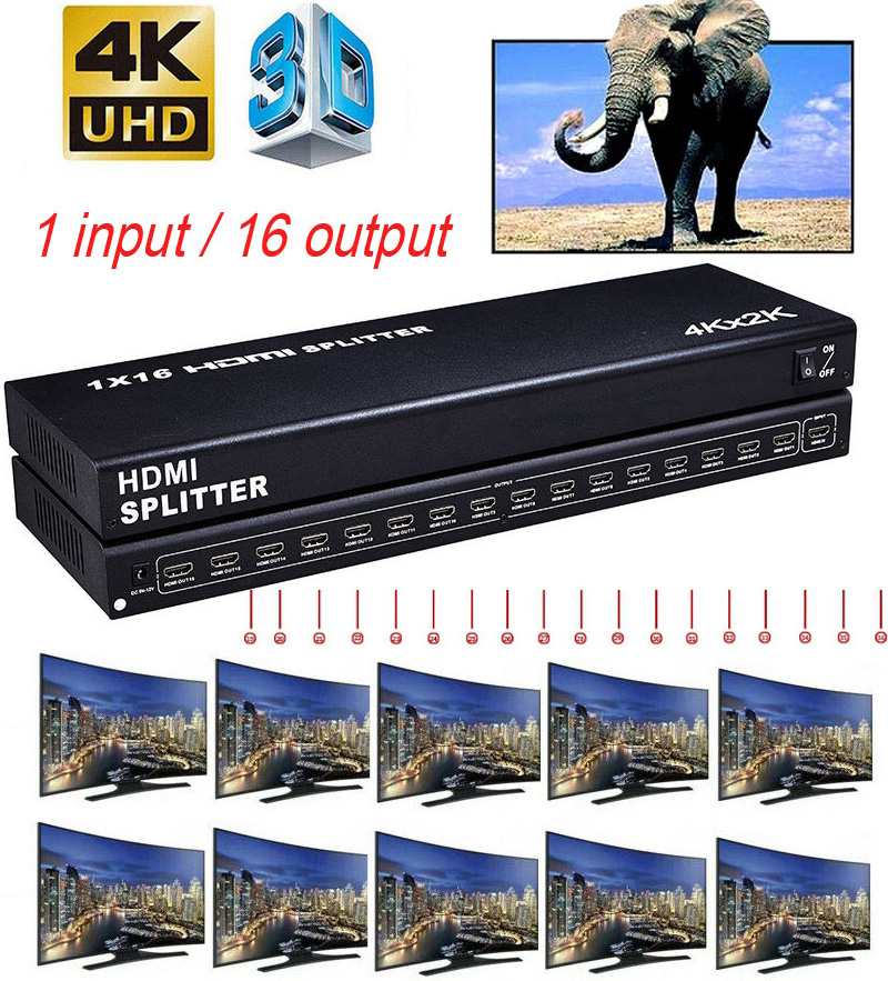 4kx2k HDMI Splitter 1x16 Video Distributor Converter 4K 3D HD 1080P 1 In <font><b>12</b></font> <font><b>16</b></font> Out for PS3 PS4 XBOX DVD Computer PC Output To TV image