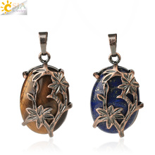CSJA Vintage Egg Shaped Pendants Natural Crystal Stone Antique Copper Plated Flower Half Moon Pendant DIY Necklaces Jewelry G600