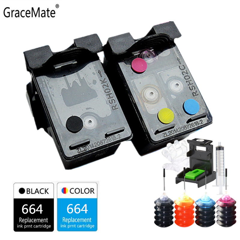 GraceMate Refillable <font><b>Ink</b></font> Cartridge Compatible for <font><b>HP</b></font> 664 <font><b>Ink</b></font> Cartridge for DeskJet <font><b>1115</b></font> 2135 3635 1118 2138 3636 3638 4536 image