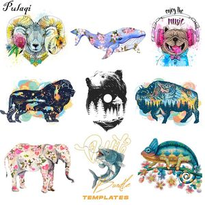 Pulaqi Dolphin Sheep Patch Lion King Space Applique Iron On Transfers For Clothing Animal Flower Thermal Stickers DIY On Clothes