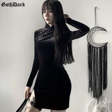 Goth Dark Solid Vintage Gothic Dresses Harajuku Autumn 2020 Patchwork Grunge Spliced Women Dress Button Longsleeve Sexy