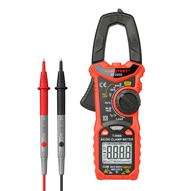 Habertest ht206d ac dc 600 v 600a ohm hz temperatura digital braçadeira medidor multímetro pinza amperimetrica