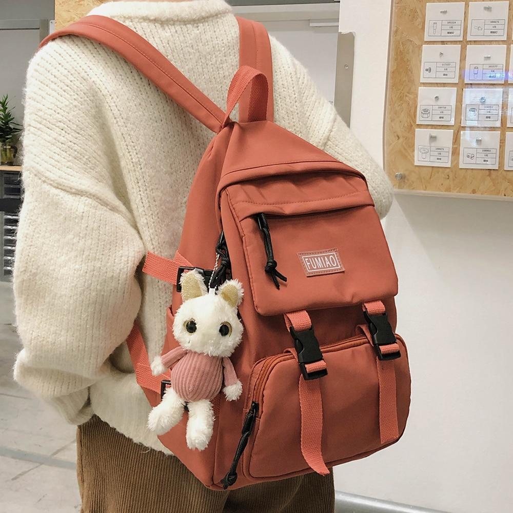 Women Waterproof Buckle Backpack Nylon Student Cute School Bag Girl Female Kawaii Backpack Laptop Fashion Book Bag Ladies Luxury