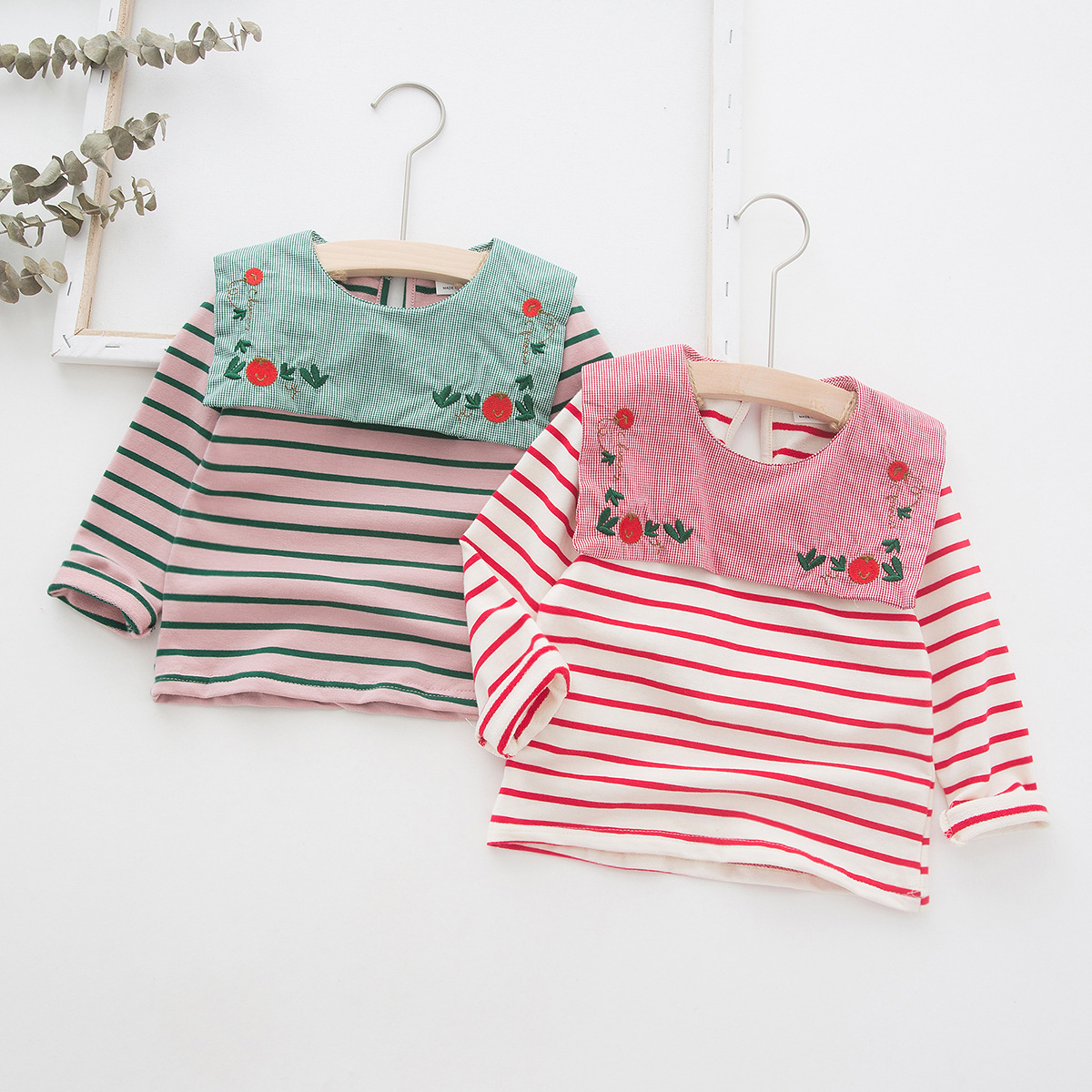 Girls T-Shirt Flower Long-Sleeve Navy-Style Toddler Autumn Baby Cotton New Embroidery