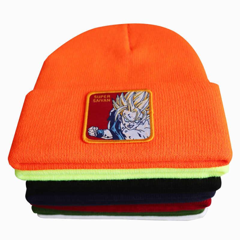 Anime Dragon Ball Super Saiyan Cosplay Bordir Beanie Hat Wanita Pria Rajutan Hangat Musim Dingin Topi untuk Solid Hip-Hop Beanies Topi