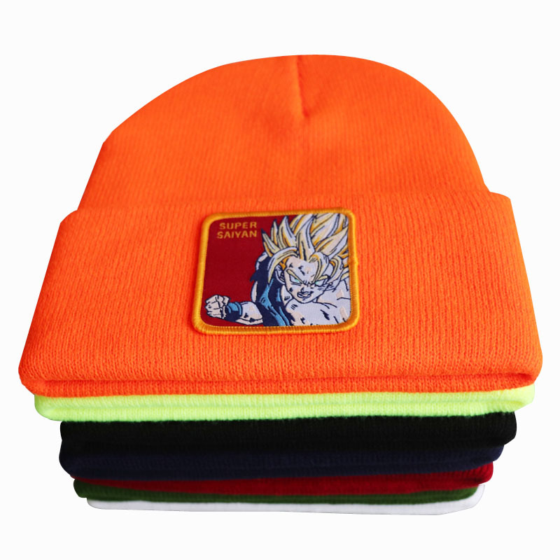 Anime Dragon Ball Super Saiyan Cosplay Embroidery Beanie Hat Women Men Knitted Warm Winter Hats For Solid Hip-Hop Beanies Bonnet