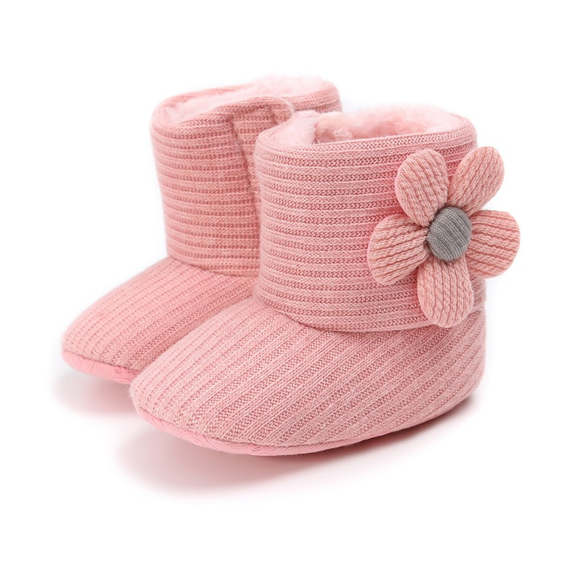 Baby Girls Boys  Warm Newborn Toddler Knitted Boots Winter First WalkersShoes Soft Sole Fur Snow Prewalker Booties For 0-18M