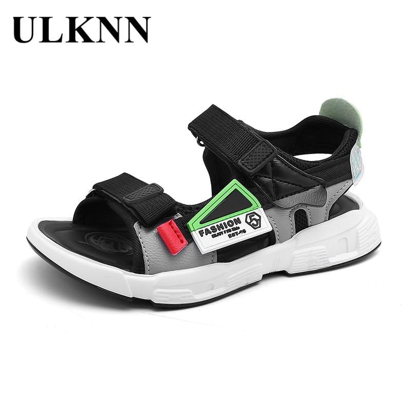 ULKNN CHILDREN'S Sandals BOY'S Soft-Sole  Fashion Summer 2020 New Style Summer Young STUDENT'S Anti-slip Big Boy Slipper