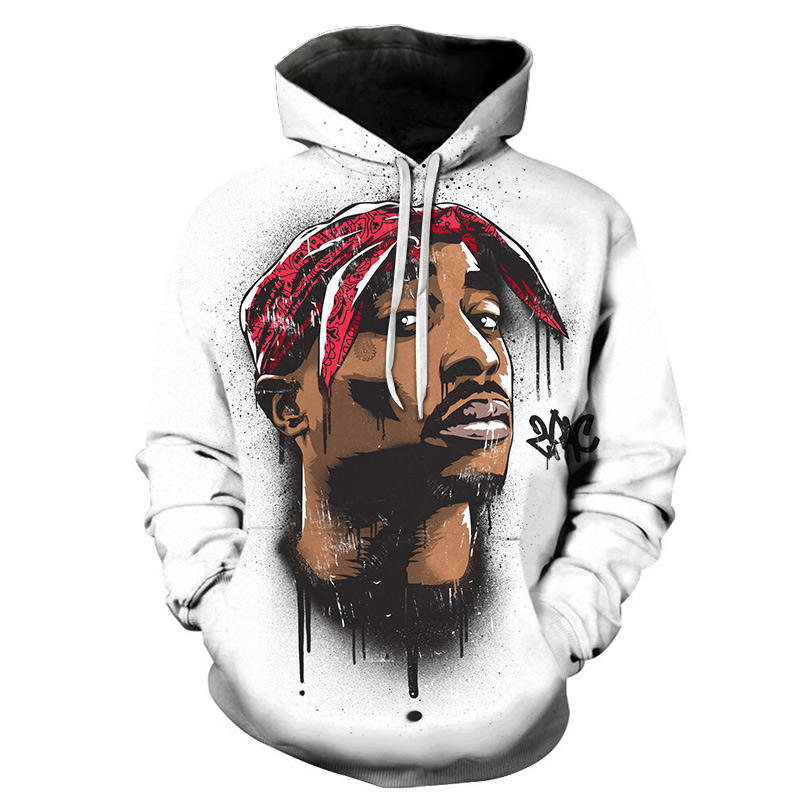Gangsta Rap 2Pac Hoodies Mens Hoodie Sweatshirt Hooded Men/Women 2Pac Tupac Amaru Shakur Hoody Polluvers Winter Cap Tracksuits