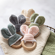 Teether-Ring Wooden for Training Shower Gift Sensory-Toy Ear Food-Grade Rabbit