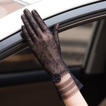 Silk Gloves Driving Touch-Screen-Gloves Elegant Black Women Summer Lace Female Breathable